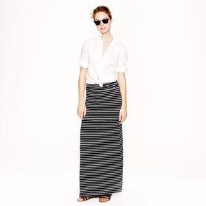 J. Crew Navy & White Striped Maxi Skirt S